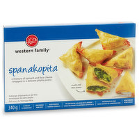 A mixture of spinach & feta cheese wrapped in a delicate phyllo pastry. Perfect as an appetizer or snack. Ready in aprrox. 20 minutes. Uncooked, keep frozen. 12 pieces.