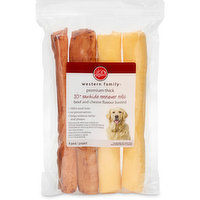 Cheese and Beef Flavoured Chew Treat. Recommended for Medium to Large Size Dogs. 100% Beef Hide. No Preservatives. Helps Remove Tartar and Plaque.