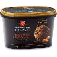Made with real cream. Smooth chocolate ice cream with chocolate truffle pieces, chocolate covered almonds & chocolate chunks.