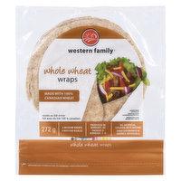 Western Family - Whole Wheat Wraps Medium, 8 Each