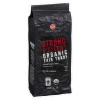 Organic extra dark roast coffee. Full bodied taste with dark Undertones. Fair trade.
