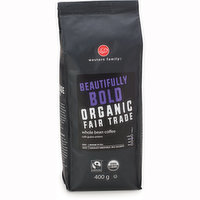 Organic dark roast coffee, full bodied taste with chocolate undertones. Fair trade.