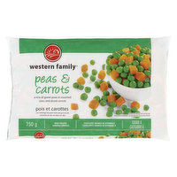 A mix of green peas in assorted sizes & diced carrots. Keep Frozen