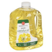 100% pure canola oil. Source of omega-3 polyunsaturates. Produced in Lethbridge, Alberta.