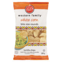 Western Family - Tortilla Chips White Corn Bite Size Rounds, 300 Gram