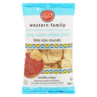 Western Family - Bite Size Rounds Tortilla Chips - Lightly Salted, 300 Gram