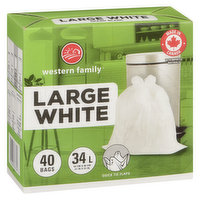 40 Plastic Bags Fits 34L with Quick Tie Flaps. Large 54.8x58.4 cm.