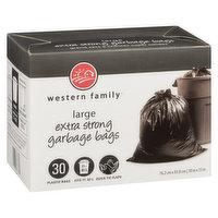 30 Plastic Bags. Fits 77-83L. Quick Tie Flaps. 76.2 x 83.8 cm.