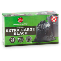 Western Family - Heavy Duty Garbage Bags Extra Large, 20 Each
