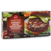 Western Family - Cheddar & Bacon Angus Beef Burgers, 6 Each