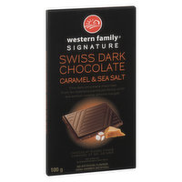 Fine Dark Chocolate Imported from Switzerland Paired Perfectly with Sea Salted Caramel Almond Nougat.