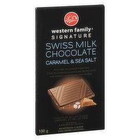 Western Family - Swiss Milk Chocolate Bar Caramel & Sea Salt, 100 Gram