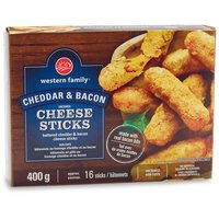 Frozen Uncooked. Battered Cheddar & Bacon Cheese Sticks.