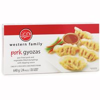 Frozen Fully Cooked Pan Fried Pork and Vegetable Filled Dumplings with Dipping Sauce. 2 Bags of 12 Pieces with 2 Sauce Packets per Bag.