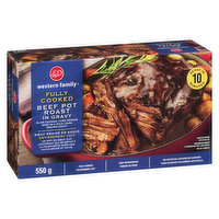 Slow Cooked, Fork Tender Beef in a Rich Dark Brown Gravy. Ready in 10 Minutes. Fully Cooked.