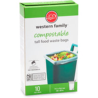 Western Family - Compostable Tall Food Waste Bags, 10 Each