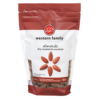 Western Family - Almonds - Dry Roasted & Unsalted, 454 Gram