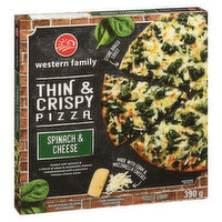 Frozen. At's A Good Thin Crust Pizza. Loaded with Spinach and a Blend of Edam & Mozzarella Cheeses Complemented with a Pecorino Romano Cheese Sauce. Stone Baked. Product of Germany.