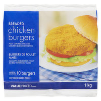 Fully cooked, breaded chicken burger cutlettes. Approximatley 10 burgers.