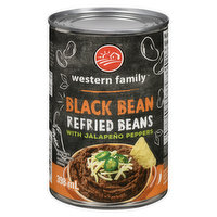 Western Family - Refried Black Beans With Jalapeno Peppers