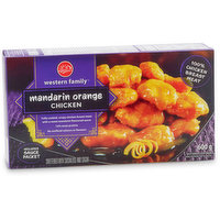 Fully cooked, crispy chicken breast meat with a sweet mandarin flavoured sauce, 14% meat protein.