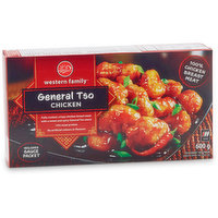 Fully Cooked, crispy chicken breast meat with a sweet & spicy General Tso sauce, 14% meat protein, mild heat.