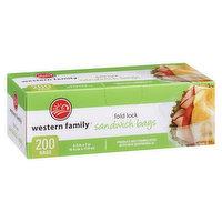 Western Family - Sandwich Bags - Fold Lock, 200 Each