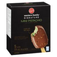 Creamy pistachio ice cream dipped in a milk chocolatey coating with crunchy pistachio pieces. 5x55ml bars.