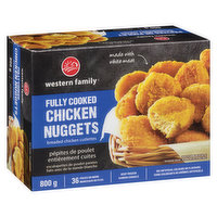 Breaded chicken cutlettes, made with white meat. 36 pieces or more. No Artificial colors or flavors.