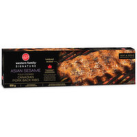 Western Family - Signature Pork Ribs - Asian Sesame Fully Cooked Canadian Pork Back ribs, 650 Gram
