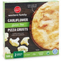 A golden pizza crust made with cauliflower. Keep frozen. Source of fibre. No artificial colors or flavors. Gluten free. Vegan.