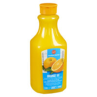 50% less sugar & calories than regular 100% orange juice. Pasteurized. No added sugar.