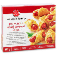 Miniature smoked sausages wrapped in a delicate puff pastry with real Parmesan cheese. 15 pieces. No artificial colors or flavors. Uncooked & keep frozen.