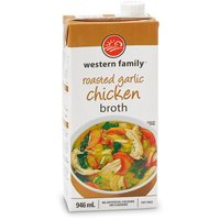 Western Family - Chicken Broth - Roasted Garlic, 946 Millilitre