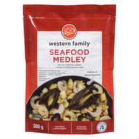 Frozen. Raw mix of shrimp, scallops, mussels and shell clam meat. Gluten Free.