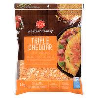 Western Family - Shredded Cheese Blend - Tripple Cheddar, 1 Kilogram