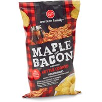 Western Family - Potato Chips - Maple Bacon Flavoured Kettle Cooked, 180 Gram
