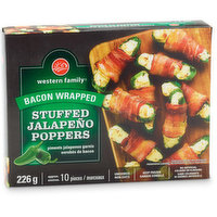 Frozen. Uncooked. Zesty Jalapenos filled with cream cheese and wrapped in mouth watering bacon. Approx 10 pieces.