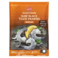 Western Family - Raw Black Tiger Prawns Medium, Peeled & Deveined, 340 Gram