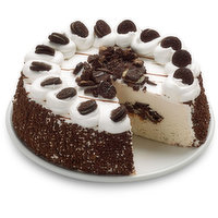 Absolutely Delectable Ice Cream Cake, Perfect for any Celebration. Vanilla and Chocolate Ice Cream with Chocolate Fudge and Cookie Center. Topped with Vanilla Icing. Local Product. 8in Cake.