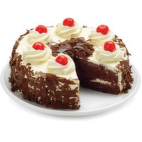 Two layers of rich dark chocolate cake filled with cherry filling, completely smothered in whipped cream icing and flavoured with a hint of kirsch liqueur. Garnished with semi-sweet chocolate shavings on sides and on top. Topped with luscious maraschino c