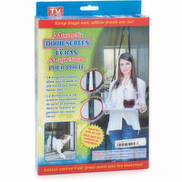 """As Seen on TV. Magic Mesh door cover instantly opens and magically snaps closed behind you using 18 strategically placed magnets. Includes: 83"""" x 19.5"""" mesh panel (2pcs). Velcro ( 26pcs)."""