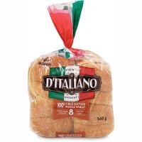D'Italiano - 100% Whole Wheat Crustini Buns, 8 Each