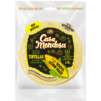 Restaurant style triple baked tortillas. Made with 100% stone ground corn. No artificial flavors or colors. Resealable bag. 14 small tortillas. 238g