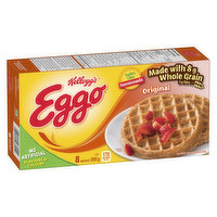 Frozen 8 Original Waffles. Source of Fibre. Made with Whole Grain. Source of 11 Essential Nutrients.