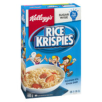 Help start your day off right with the simple goodness of Kellogg's Rice Krispies* cereal. Made with the goodness of a simple grain. 3g of sugar per serving. High in Iron & vitamin D & other vitamins & minerals.