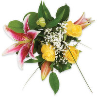 A bouquet perfect for any occasion. A beautiful selection of Lily's & yellow roses with a hint of baby's breath.