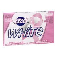 12 Pieces of Sugar Free Gum with Malititol/Sorbitol. Excel White Supports the Canadian Breast Cancer Foundation.