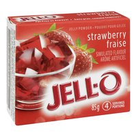 Strawberry Flavoured Jelly Powder. 4 Servings per Package.