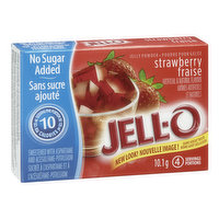 No Sugar Added Strawberry Flavoured Jelly Powder. 10 Calories per Serving. 4 Servings per Package.
